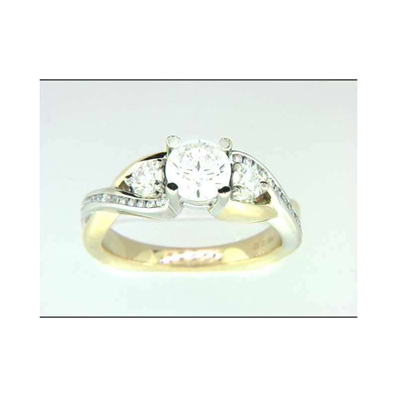 Pugh's Signature Ladies' 14k White And Yellow Gold Cz Center Ring