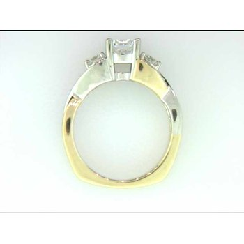 Ladies' 14k White And Yellow Gold Cz Center Ring