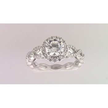Ladies' 14k White Gold 6 Mm CZ Diamond Semi Mount