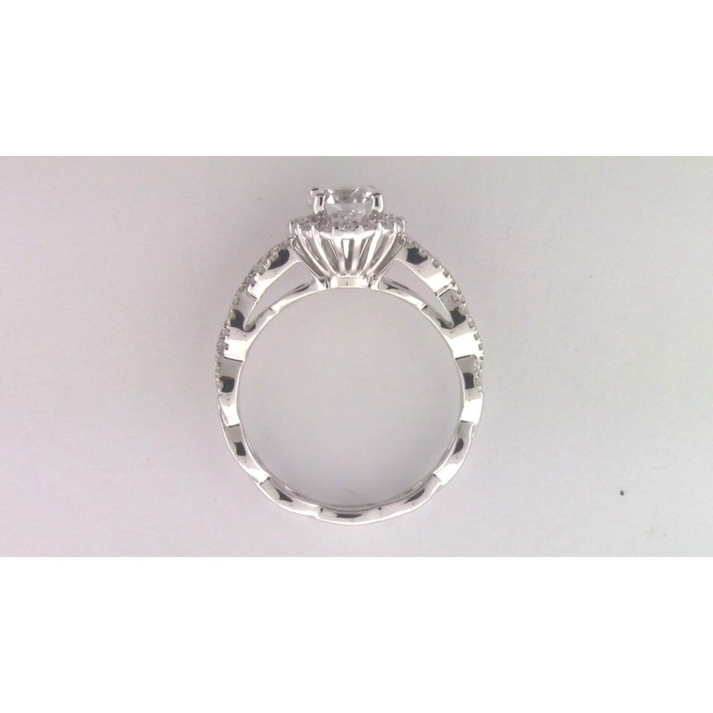 Zeghani Ladies' 14k White Gold 6 Mm CZ Diamond Semi Mount