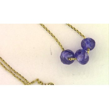 14k Yellow Gold Colored Stone Necklace