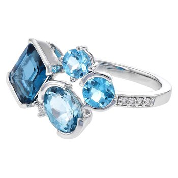 14k White Gold Blue Topaz Ring