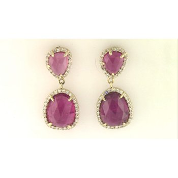 14k Yellow Gold Pink Tourmaline Earrings
