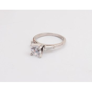 Platinum 6.5 Mm CZ Semi Mount Ring