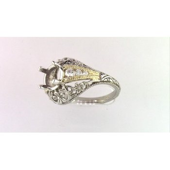 Ladies' 14k White And Yellow Gold Semi Mount Ring