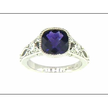 Ladies' 14k White Gold Amethyst Ring