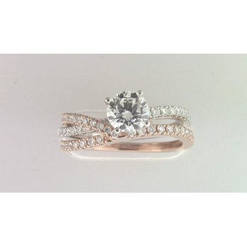 Ladies' 14k White And Rose Gold 6 Mm CZ Ring