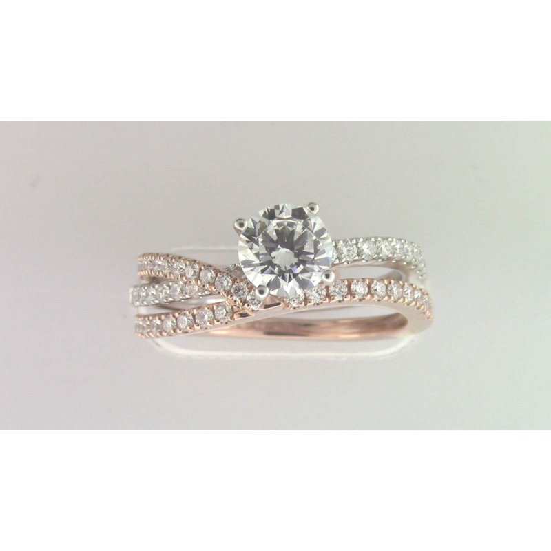 Zeghani Ladies' 14k White And Rose Gold 6 Mm CZ Ring