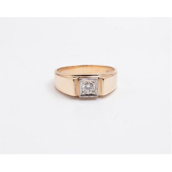 Gentlemans' 14k White And Yellow Gold Diamond Ring