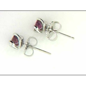 Ladies' 14k White Gold Pink Tourmaline Earrings