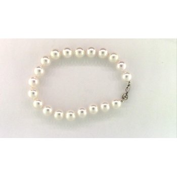Ladies' 14k White Gold Akoya Cultured Pearl Bracelet