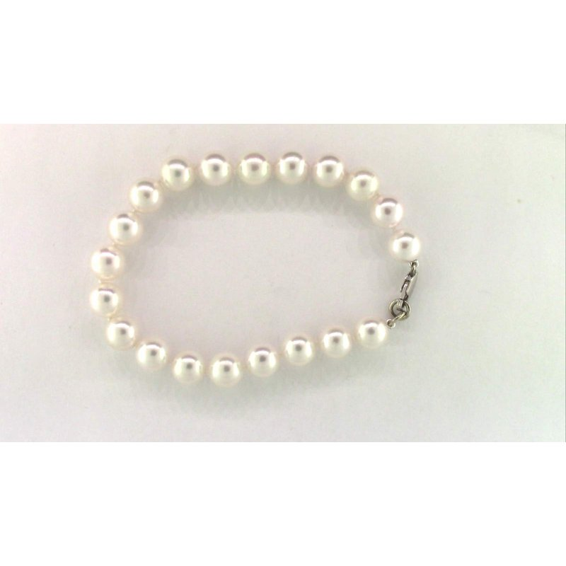 Pugh's Signature Ladies' 14k White Gold Akoya Cultured Pearl Bracelet
