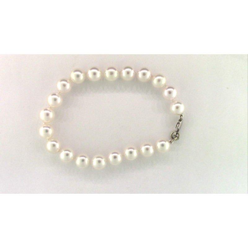 Pugh's Signature Ladies' 14k White Gold Akoya Cultured Pearl Bracelet