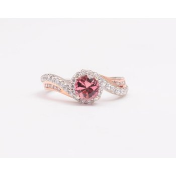 Ladies' 14k White And Rose Gold Morganite and Diamond Ring