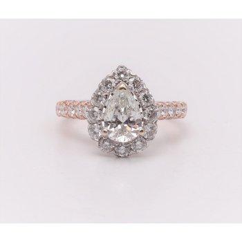 14k White And Rose Gold Diamond Semi Mount Ring