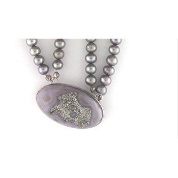 Ladies' Sterling Titanium Drusy Quartz Pendant