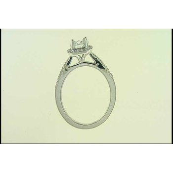 Ladies' 14k White Gold CZ Center Ring