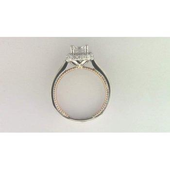 Ladies' 14k White And Rose Gold 6 Mm CZ Diamond Semi Mount Ring