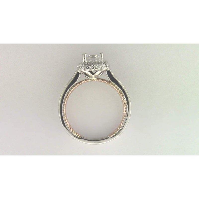 Pugh's Signature Ladies' 14k White And Rose Gold 6 Mm CZ Diamond Semi Mount Ring