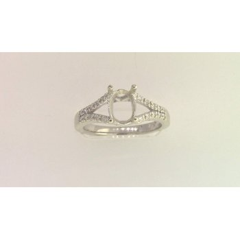 Ladies' 14k White Gold Diamond Semi Mount Ring