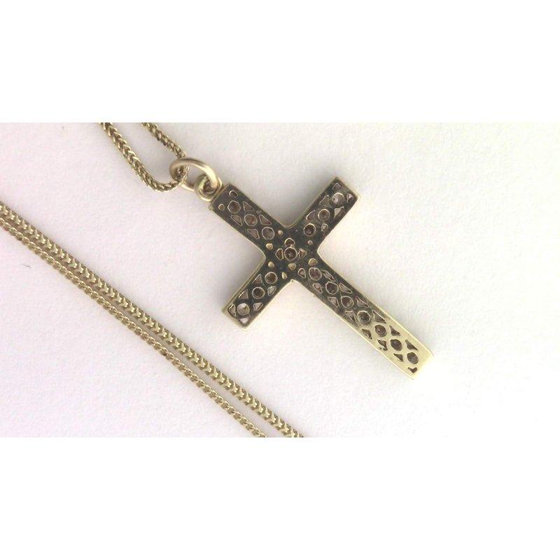 Pugh's Signature 14k Yellow Gold Diamond Cross