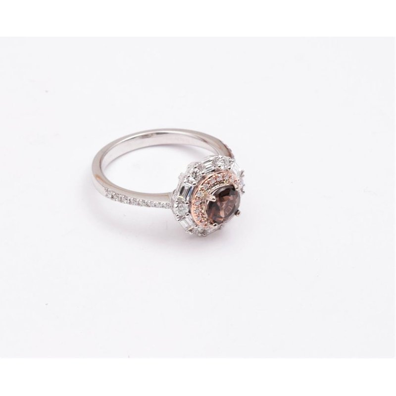Zeghani Ladies' 14k White and Rose Gold smoky quartz and diamond ring