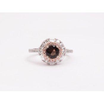 Ladies' 14k White and Rose Gold smoky quartz and diamond ring