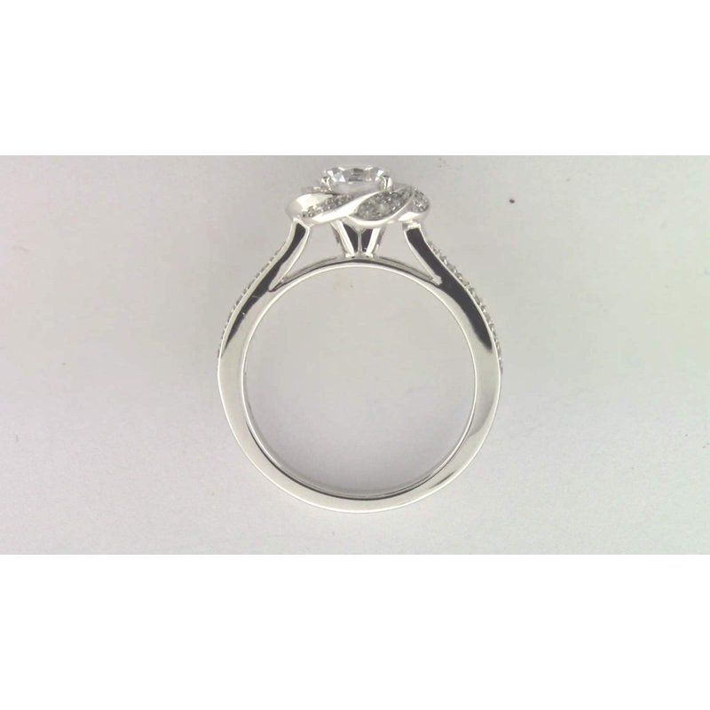 Zeghani Ladies' 14k White Gold 6 Mm CZ Semi Mount Ring