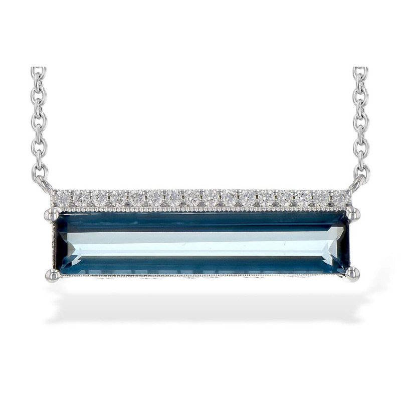 Allison-Kaufman Ladies' 14k White Gold Blue Topaz Necklace