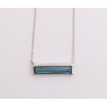 Ladies' 14k White Gold Blue Topaz Necklace