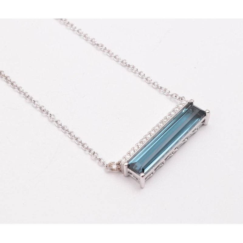 Allison-Kaufman Ladies' 14k White Gold Blue Topaz Necklace