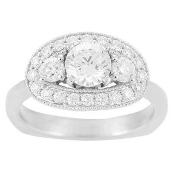 Ladies' 6 Mm CZ Diamond Semi Mount Ring