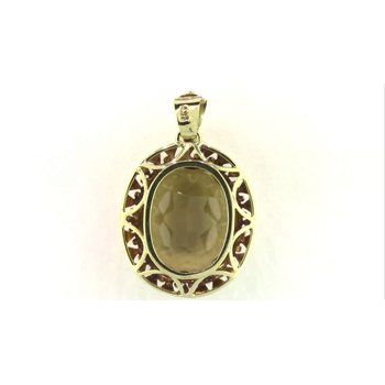 14k Yellow Gold Citrine Quartz Pendant