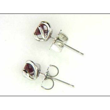 Ladies' 14k White Gold Created Ruby Earrings