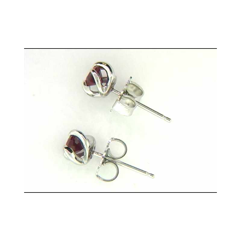 Ostbye Ladies' 14k White Gold Created Ruby Earrings