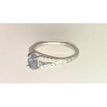 18k White Gold Custom aquamarine and diamond ring