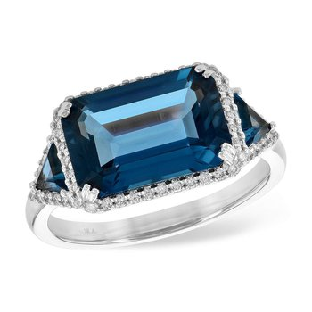 14k White Gold Loondon Blue Topaz Ring