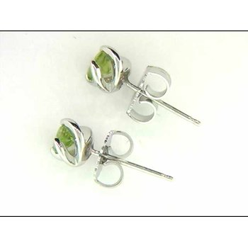 Ladies' 14k White Gold Peridot Earrings