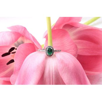Ladies' 14k White Gold Emerald and Diamond Ring