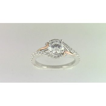 Ladies' 14k White And Rose Gold 6.5 Mm CZ Stone Ring