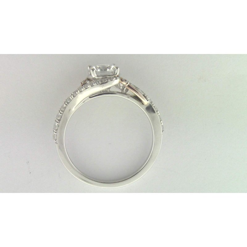 Zeghani Ladies' 14k White And Rose Gold 6.5 Mm CZ Stone Ring