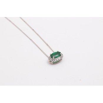 14k White Gold Emerald Pendant
