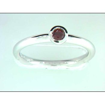 Ladies' 14k White Gold Garnet Ring