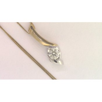 14k White And Yellow Gold Diamond Pendant