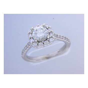 Ladies' 14k White Gold 5.5 Mm CZ Ring