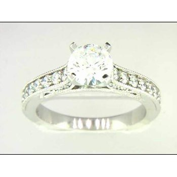 14k White Gold 6.5 Mm CZ Ring