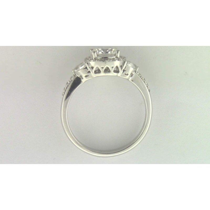 Zeghani Ladies' 14k White Gold 6 Mm CZ Stone Diamond Semi Mount Ring