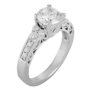 14k White Gold Cz Stone Ring