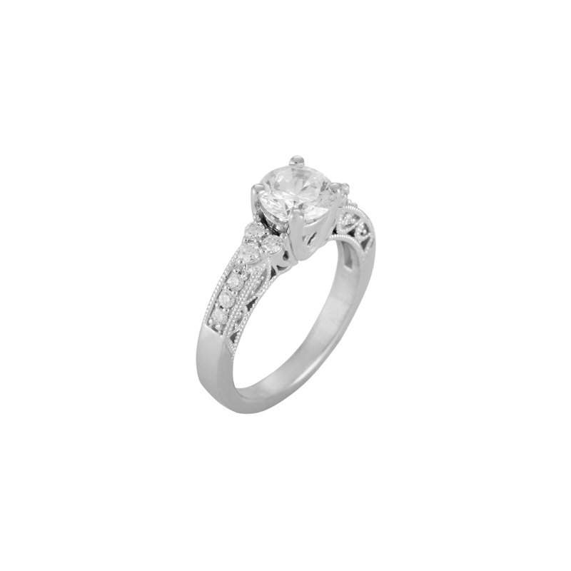 Pugh's Signature 14k White Gold Cz Stone Ring