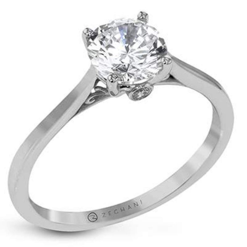 Zeghani Ladies' 14k White Gold (no Major Stone Currently) Ring